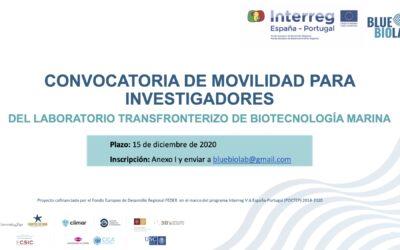 Está abierta la Convocatoria de Movilidad Bluebiolab